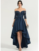 Off-the-Shoulder Asymmetrical Satin Evening Dress With Sequins