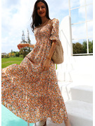 Floral Print A-line Square Neck Short Sleeves Puff Sleeves Maxi Casual Vacation Skater Dresses