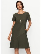 Linen With Resin solid color Knee Length Dress