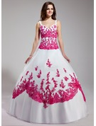 Ball-Gown V-neck Floor-Length Organza Quinceanera Dress With Embroidered Beading Sequins