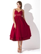 Empire Sweetheart Knee-Length Chiffon Maternity Bridesmaid Dress With Ruffle