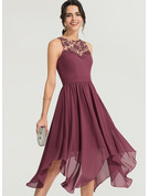 A-Line Scoop Neck Asymmetrical Chiffon Cocktail Dress
