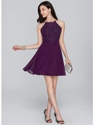 A-Line/Princess Scoop Neck Short/Mini Chiffon Cocktail Dress With Beading Sequins