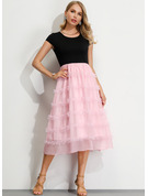 Chiffong med Bowknot/Solid Midi Kle