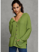 Chunky knit Solid Pocket Polyester Hooded Cardigans Sweaters