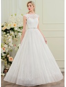 A-Line/Princess Scoop Neck Floor-Length Organza Wedding Dress With Beading Sequins