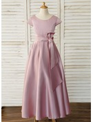 Ball-Gown/Princess Floor-length Flower Girl Dress - Satin Short Sleeves Scoop Neck