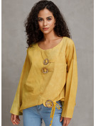Manches longues Polyester Col rond Blouses