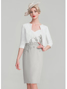 Sheath/Column Sweetheart Knee-Length Chiffon Lace Mother of the Bride Dress With Ruffle