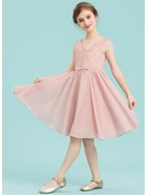 A-Line/Princess V-neck Knee-Length Chiffon Junior Bridesmaid Dress With Bow(s)