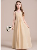 A-Line/Princess V-neck Floor-Length Chiffon Junior Bridesmaid Dress With Ruffle Lace