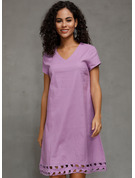 Linen With Hollow/Solid Knee Length Dress