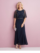 A-Line Scoop Neck Ankle-Length Chiffon Lace Cocktail Dress With Beading Sequins