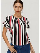 Short Sleeves Polyester Round Neck Blouses
