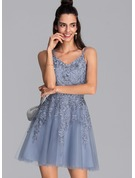 A-Line V-neck Short/Mini Tulle Prom Dresses