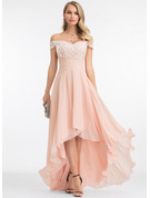 Off-the-Shoulder Asymmetrical Chiffon Wedding Dress With Sequins