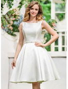 Scoop Neck Knee-Length Satin Wedding Dress With Beading Sequins