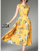 Polyester With Print/Crumple Midi Dress