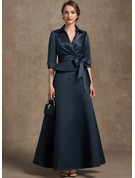 A-Line V-neck Ankle-Length Satin Cocktail Dress With Bow(s)