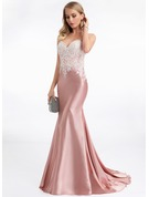 Trumpet/Mermaid Sweetheart Sweep Train Charmeuse Evening Dress
