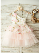 A-Line Knee-length Flower Girl Dress - Tulle Sleeveless One-Shoulder With Flower(s)