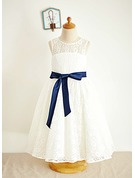 Ball Gown Tea-length Flower Girl Dress - Lace Sleeveless Scoop Neck With Sash