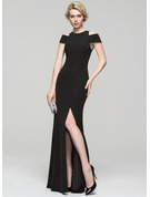 Sheath/Column Scoop Neck Floor-Length Stretch Crepe Evening Dress With Split Front