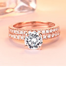 Sterling Silver Cubic Zirconia Dainty Halo Round Cut Promise Rings Bridal Sets