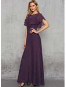 Ball-Gown/Princess Scoop Neck Floor-Length Chiffon Lace Evening Dress With Lace Beading