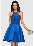A-Line Halter Short/Mini Satin Homecoming Dress With Beading Bow(s)