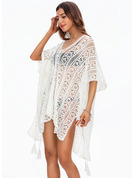 Elegant Solid Color Polyester Cover-ups