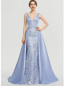 A-Line V-neck Sweep Train Satin Evening Dress With Beading Sequins