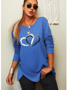 Regular Cotton Blends Round Neck Print Heart Fitted Blouses