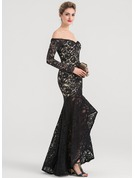 Trumpet/Mermaid Off-the-Shoulder Asymmetrical Lace Evening Dress