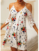 Floral Lace PolkaDot Print Shift Cold Shoulder 1/2 Sleeves Midi Casual Dresses