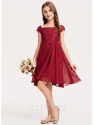 A-Line Knee-length Flower Girl Dress - Chiffon Short Sleeves Square Neckline