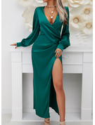 Solid A-line V-Neck Long Sleeves Lantern Sleeve Maxi Party Skater Wrap Dresses