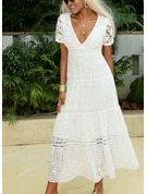 Polyester/Lace With Lace/Solid Maxi Dress