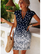 Print Sheath V-Neck Short Sleeves Midi Casual Vacation Dresses
