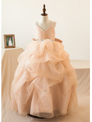 Ball-Gown/Princess Floor-length Flower Girl Dress - Tulle Sleeveless Straps With Ruffles/Bow(s)/Rhinestone