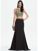 Trumpet/Mermaid Scoop Neck Sweep Train Stretch Crepe Prom Dresses With Lace Beading