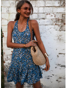 Floral Print Sheath Halter Sleeveless Midi Casual Sexy Vacation Tank Dresses