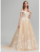 Ball-Gown/Princess Off-the-Shoulder Sweep Train Tulle Wedding Dress With Beading Sequins