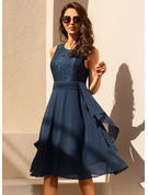 Lace Solid Round Neck Midi Skater Dresses