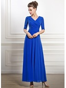 A-Line V-neck Ankle-Length Jersey Mother of the Bride Dress With Ruffle