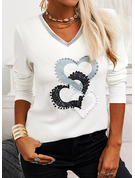 Regular Cotton Blends V-Neck Print Sequins Heart Fitted Blouses