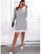 Round Neck Long Sleeves Regular Solid Casual Sweater Dresses