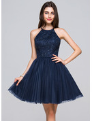 A-Line/Princess Scoop Neck Short/Mini Tulle Lace Homecoming Dress With Beading Sequins Bow(s) Pleated