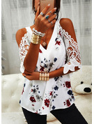 Regular Polyester Cold Shoulder Floral Lace Print 3XL L S M XL XXL Blouses