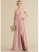 A-Line Sweetheart Floor-Length Chiffon Lace Prom Dresses With Split Front